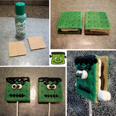 How to make a Frankenstein S'Mores Pop for Frankenstein Friday #PreppyPlanner
