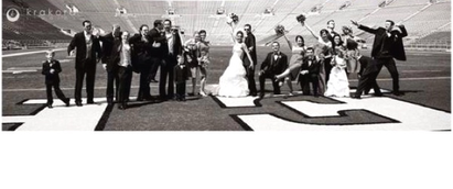 if you are lucky enough arrange for some pictures of the wedding party at your team's stadium #PreppyPlanner