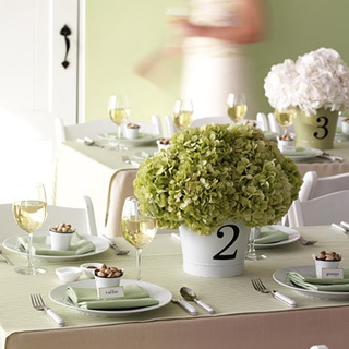 use vinyl decals on pots or pails to create your table numbered centerpiece #MarthaWeddings #PreppyPlanner