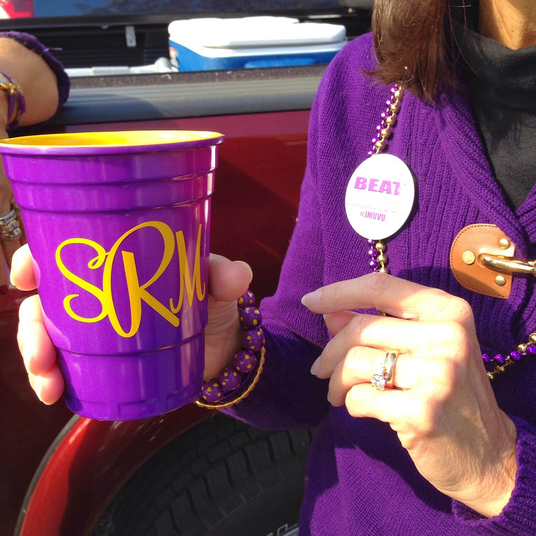 Football Season Photo Diary: Monogrammed acrylic purple and gold solo cup #PreppyPlanner