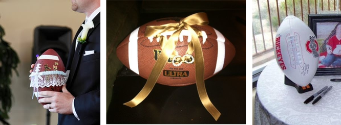 use real footballs in your wedding for the garter toss, the ring bearer and the guest book #PreppyPlanner