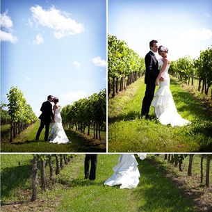 Vineyard Wedding: a romantic dress and a perfectly tailored black suit #PreppyPlanner
