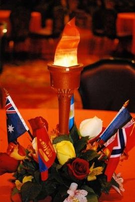Olympic torch centerpiece for an Olympic themed wedding #PreppyPlanner