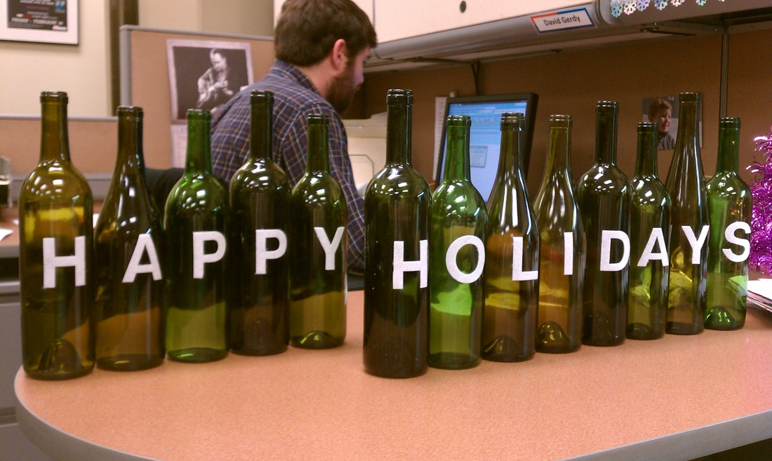 Holiday Party Crafting with Wine Bottles #PreppyPlanner