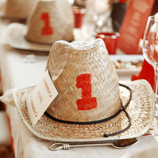 for a little western flare make your own cowboy hat table numbers like these from #stylemepretty #PreppyPlanner