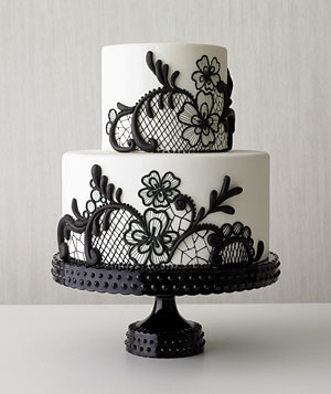 A simple black lace section on a classic white cake #PreppyPlanner