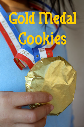 Olympic Gold Medal Cookies idea from @AlphaMom #PreppyPlanner