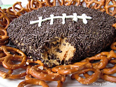 super easy peanut butter football dip from #CrazyforCrust #PreppyPlanner