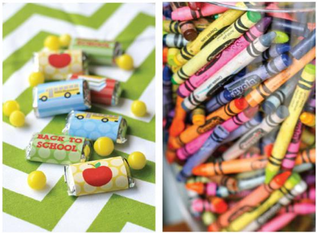 fill over sized votives with crayons to create a back to school centerpiece #PreppyPlanner