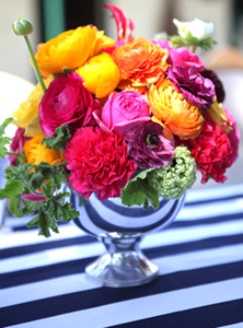 Silver Cups Serve as Great Vases for a Derby Inspired Centerpiece #PreppyPlanner