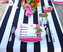 Bold Stripes and Silver lead a Derby Style to the Table Settings #PreppyPlanner