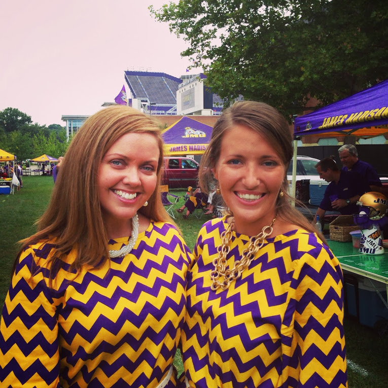 Football Season Photo Diary: Ready to tailgate in our purple and yellow chevron dresses #PreppyPlanner