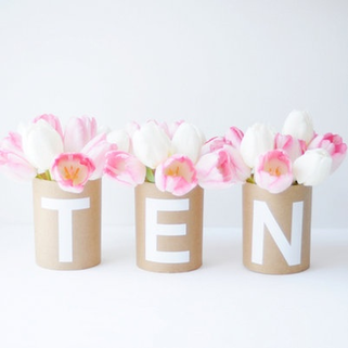 for something different but still sweet and simple make your own vase covers that also serve as table numbers #PreppyPlanenr