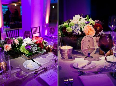 A Purple Wedding: Color your whole event purple with purple lighting, linens, glassware and flowers #PreppyPlanner