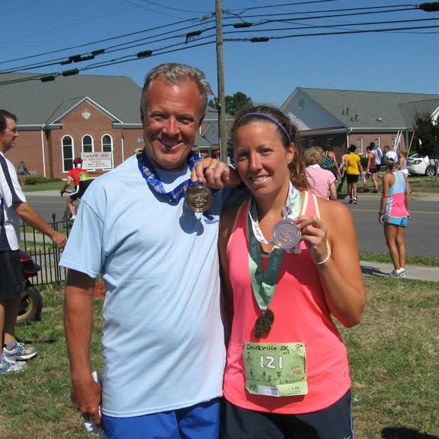 A few of us earned some shiny new medals at the Deltaville 5K #PreppyPlanner