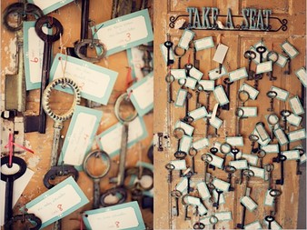 vintage key place cards from @bridalmusings #PreppyPlanner