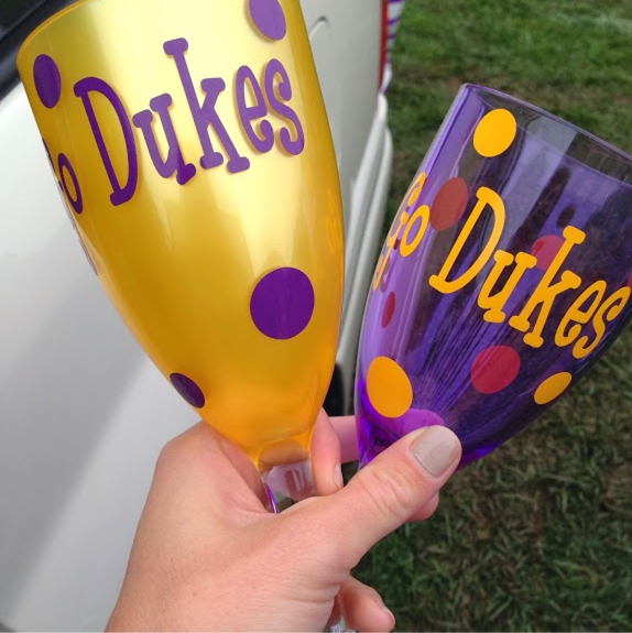 Football Season Photo Diary: Go Dukes acrylic wine glasses #PreppyPlanner