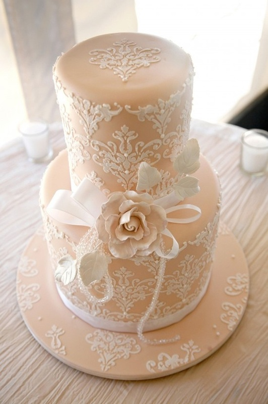 Choose a simple damask print to create a lovely lace work on the cake and cake stand #PreppyPlanner