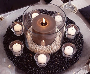 take coffee beans and candles to create a great coffee party centerpiece #BHG #PreppyPlanner